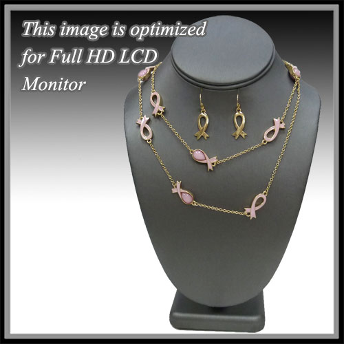 Pink Ribbon &lt; Necklace < Fashion Necklace Set