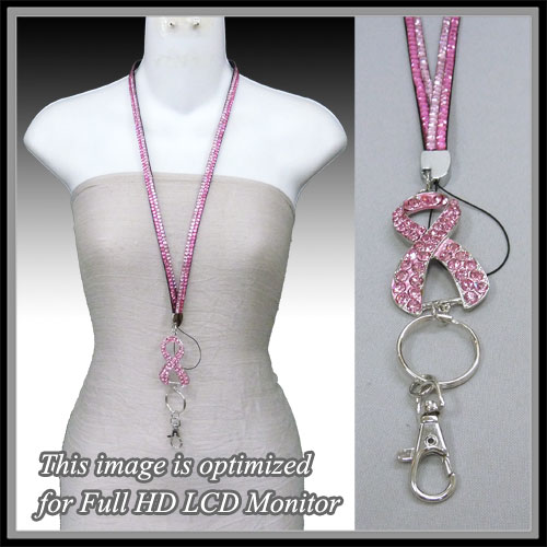 Pink Ribbon &lt; Necklace < Fashion ID Holder