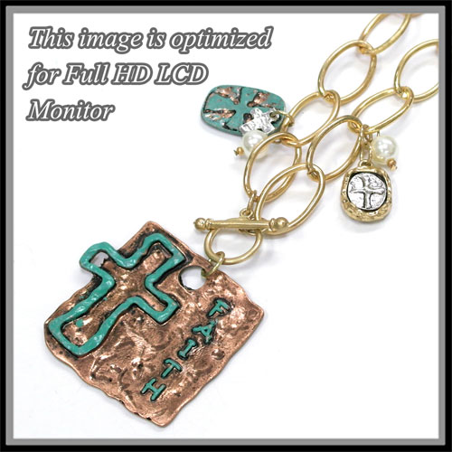 Necklaces < Cross or Message < Neclace < Cross Patina Necklace